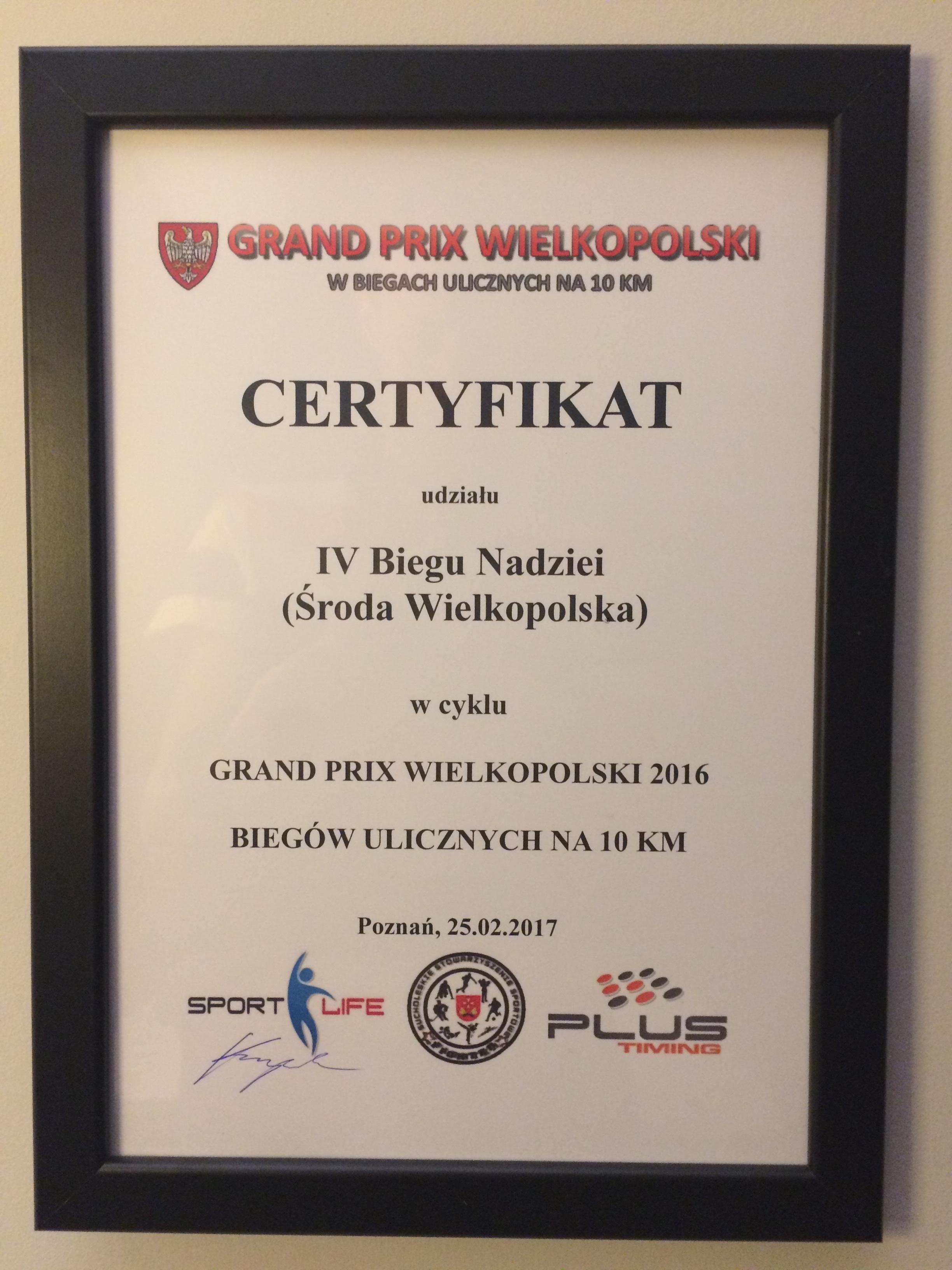 certyfikat dla naszego Biegu Nadziei